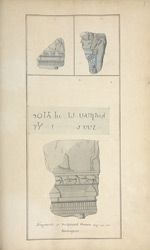 Three sculptures excavated during Mackenzie's visit to Amaravati in 1798. Published alongside folio 52 in AR.